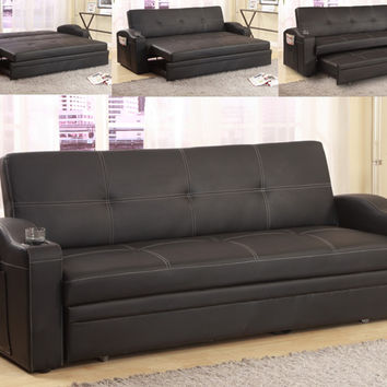 Easton black leather like vinyl upholstered folding futon sofa bed with built in cup holders in the arms