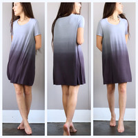 A Jersey Ombre Tee Dress in Charcoal