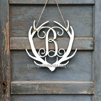 Deer Antler Monogram- Holiday Trimmings™ Wooden Monogram Letter- Interlocking Script, Door Hanger Wreath- rustic cabin or hunting decor