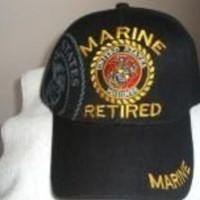 U S Marine Corps (Retired) emblem on a Black ballcap or cover w/free shipping