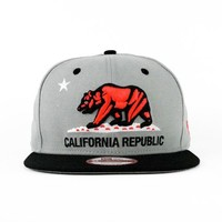 California Republic Gray, Black, Crimson Red SNAPBACK