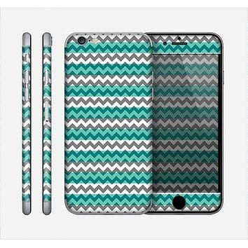 The Vintage Green & White Chevron Pattern V4 Skin for the Apple iPhone 6