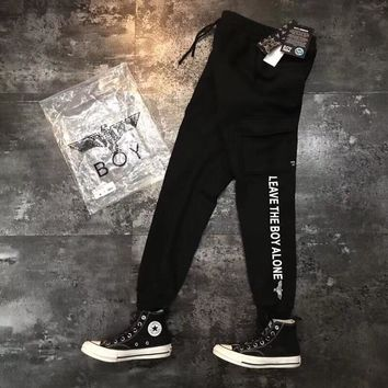 """Boy London"" Unisex Casual Eagle Letter Print Thickened Knit Sweatpants Couple Leisure Pants Trousers"