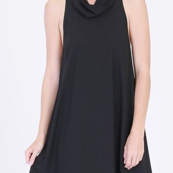 cowl neck open back swing dress