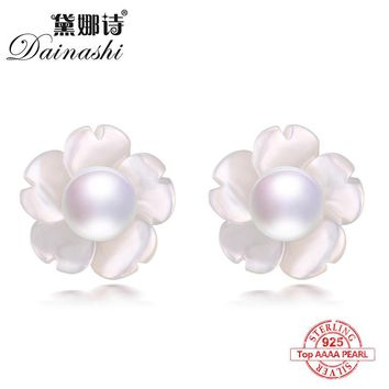 Dainashi 2017 new arrival 925 sterling silver freshwater colorful bread round pearl stud earrings trendy fine jewelry for women