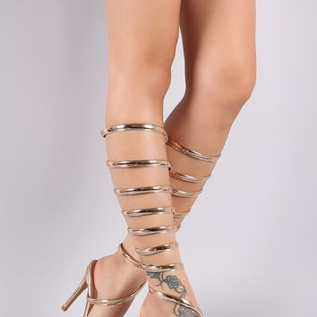 Patent Spiral Leg-Wrap Single Sole Dress Heel