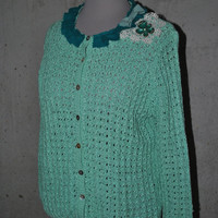 Mint Green Sweater with Vintage Lace and Pin Detail