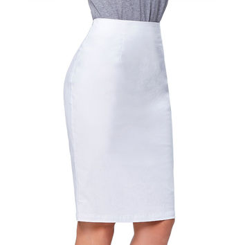 2017 Hot New Office Skirt Wear to Work Party Bodycon Pencil Skirt Black White Sexy Slim OL Women Skirts Faldas Saia Midi Femme