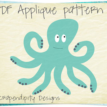 Octopus Applique Pattern - Ocean Applique Template / Ocean Quilt Pattern DIY / Octopus Applique Shirt / Ocean Wall Hanging Digital AP341-D