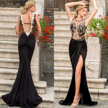 New Fashion Women Maxi Dress Casual Embroidery Mesh Open Back Sleeveless Floor-Length Party Dress Clubwear G0945 26201 One Size (Color: Black) = 1946731524