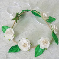 White rose crown Rose headpiece / Flower crown/ Rustic Rose headpiece