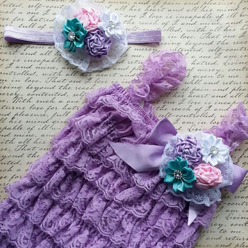 Lace Romper Set,  Baby Lace Romper Set, Petti Lace Romper Set, Lavender Lace Romper Outfit, Photo Prop, Newborn,  Smash Cake Outfit