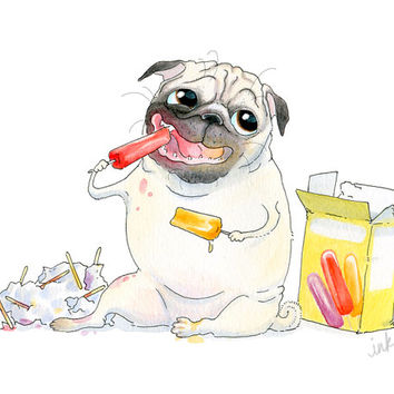Pug Art Print - 5x7, 8x10, 8.5x11 - Popsicles & Pug - Fawn Pug and Popsicles Summer Art, Pug Summer Print, Popsicle Art by InkPug!
