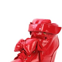 Privileged Amore Red Bow Wedge Sneakers-MakeMeChic.com