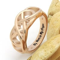 "Double Infinity Mother Ring, Mom Promise Ring ""My Mom is My Angel"" Engraved on Inside, Best Gift for Mother Daughter Forever"