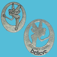 """Disney Pewter Tinkerbell """"Believe"""" Token Coin - """"Pieces of Magic"""""""