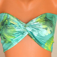 Neon colorful spandex swimsuit twisted bandeau strappless bra bandeau bikini siwmwear bandeau bikini top girly accessories