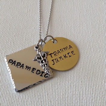 Paramedic necklace or keyring, trauma junkie, medical, gifts for paramedics, EMT necklace, handstamped, personalized
