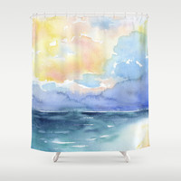 Colorful Abstract Ocean Shower Curtain by Susan Windsor