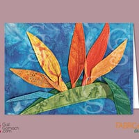 Quilted Card, Bird of Paradise Flower, Greeting Card, Valentine's Day Card, Uplifting Card, on Cardstock, Blank inside, 7x5 w/ envelope