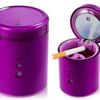 CB-1103 Garbage Can Shaped Car Ashtray (Purple)
