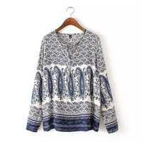 Blue Paisley Print V-Neck Long Sleeve Shirt