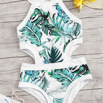 Random Jungle Leaf Cut-out Side One Piece Swimsuit