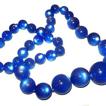 "Blue Moon Glow Beaded Necklace Sterling Clasp September Birthstone 18"" Vintage"
