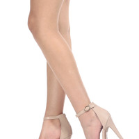 Nude Faux Leather Ankle Strap Platform Heels