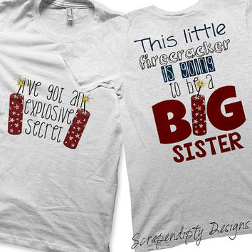 Firecracker Iron on Transfer - Iron on Going to be a Big SIster Shirt / Fourth of July Tshirt / Customized Birth Announcement Tee IT254-C