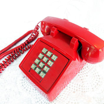 Vintage Red ITT Phone,Red Push Button Phone, Retro Desk Top Phone, Touch Tone Phone, Works,1970s Seventies