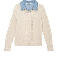 Teens Cream 2 in 1 Denim and Cable Knit Jumper