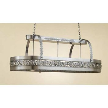 Hi-Lite H-83Y-D-11 Leaf Satin Steel Lighted Pot Rack