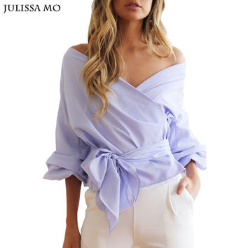 Women Long Sleeve Blouses New Autumn Sexy Off Shoulder Bow Tie Roupa Feminina Tops Casual Blusas Plus Size Women Shirts