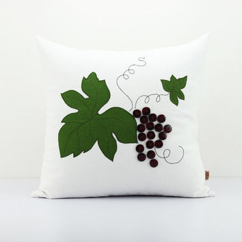 Grapes decor pillows,Unique buttons cushion cover, Primitive decorative pillow,Funny decor,Autumn decor throw pillow,Accent pillowcase