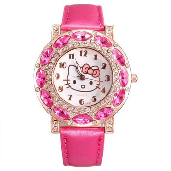 New Arrival Clock Cheap Lovely Girls Hello Kitty Rhinestone Women Watch Children Fashion Kids Crystal cute WristWatch Gift