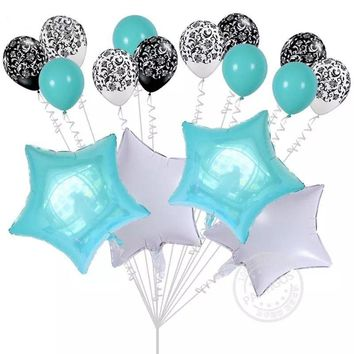 MINT AQUA PARTY Balloons- Mint Green Birthday Balloons | Aqua Baby Shower Balloons |Star Foil Balloons | Gender Reveal Balloons | Boys Baby