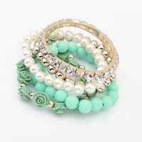 Multilayer Women Crystal Flower Elastic Bracelet Bead Bangle Chain Jewelry Party