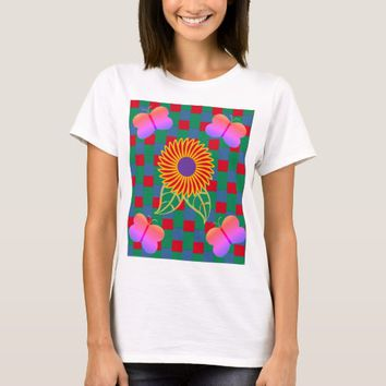 Checkered Flower and Butterflies Tshirt