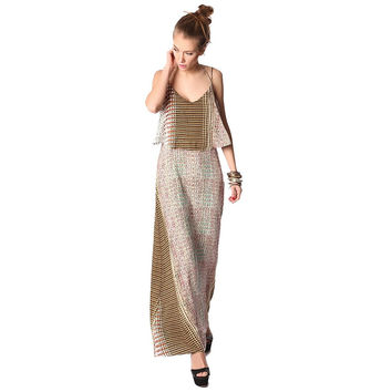 Maxi dress in mixed print with double layer in mustard