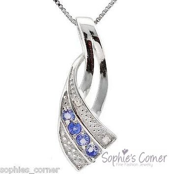 Tanzanite & Diamond Pendant Necklace ~ Platinum over Sterling Silver ~Free ship!