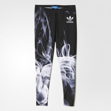 """Adidas"" Women Sports Casual Flame Smog Print Tight Yoga Leggings Pants Trousers Sweat"