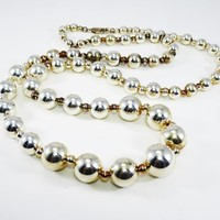 Sterling Silver Bead Necklace Signed 925 Silver Ball Beads Strung on 30 inch Chain Necklace BOHO Beaded JewelryVintage 1970s 1980s Classic