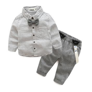 Boys Long Sleeve Gray Button Shirt with Pants 2 Piece Set