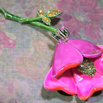 Signed Art Painted Enamel Flower Pin, Rhinestone Highlights, Shabby Chic, Vintage Jewelry, Costume Jewellery, Spring Summer Fun  517