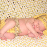 Easter Bunny Hat and diaper cover set Newborn infant by crochetedcuddles