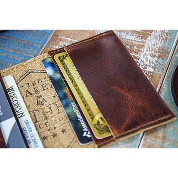 4-Slot Front Pocket Card Sleeve Wallet - The Dip (Tobacco Snakebite Leather)