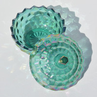 Decorative trinket bowl, carnival glass treasure box, vintage jewelry box, glass jewelry bowl, trinket dish with lid, sea green and pink