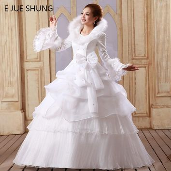 E JUE SHUNG White Organza Cheap Muslim Wedding Dresses 2017 Long Sleeves Winter Wedding Gowns vestido noiva trouwjurk