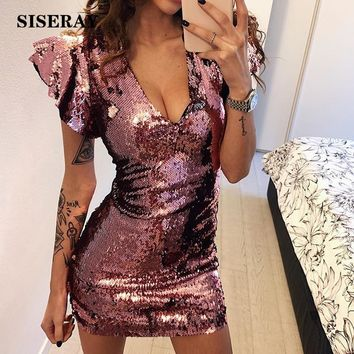 Sexy Low Cut Bodycon Sequins Dress With Butterfly Sleeve Slim Fit Deep V Wrap Club Dress Night Party Mini Dress For Women Pink